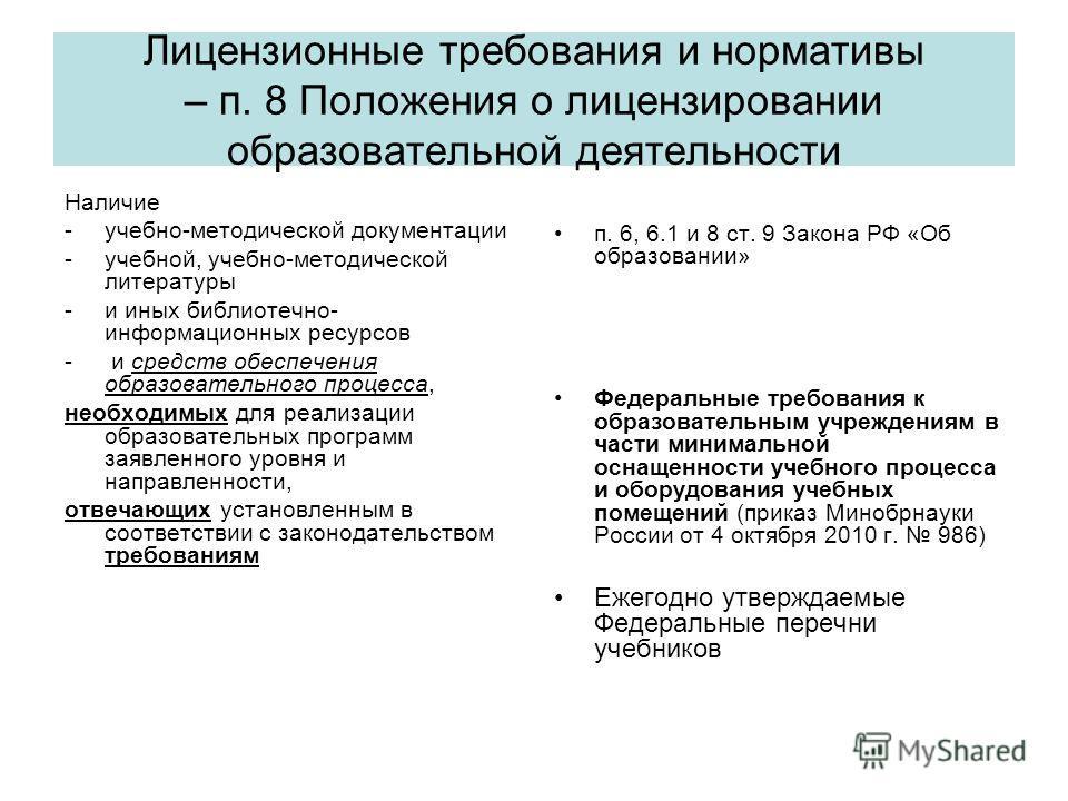 Лицензионные требования и нормативы – п. 8 Положения о лицензировании образовательной деятельности Наличие -учебно-методической документации -учебной, учебно-методической литературы -и иных библиотечно- информационных ресурсов - и средств обеспечения