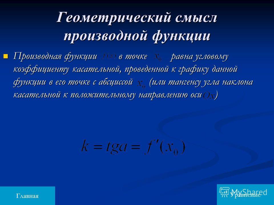Геометрический смысл производной функции Производная функции в точке равна угловому коэффициенту касательной, проведенной к графику данной функции в его точке с абсциссой (или тангенсу угла наклона касательной к положительному направлению оси ) Произ