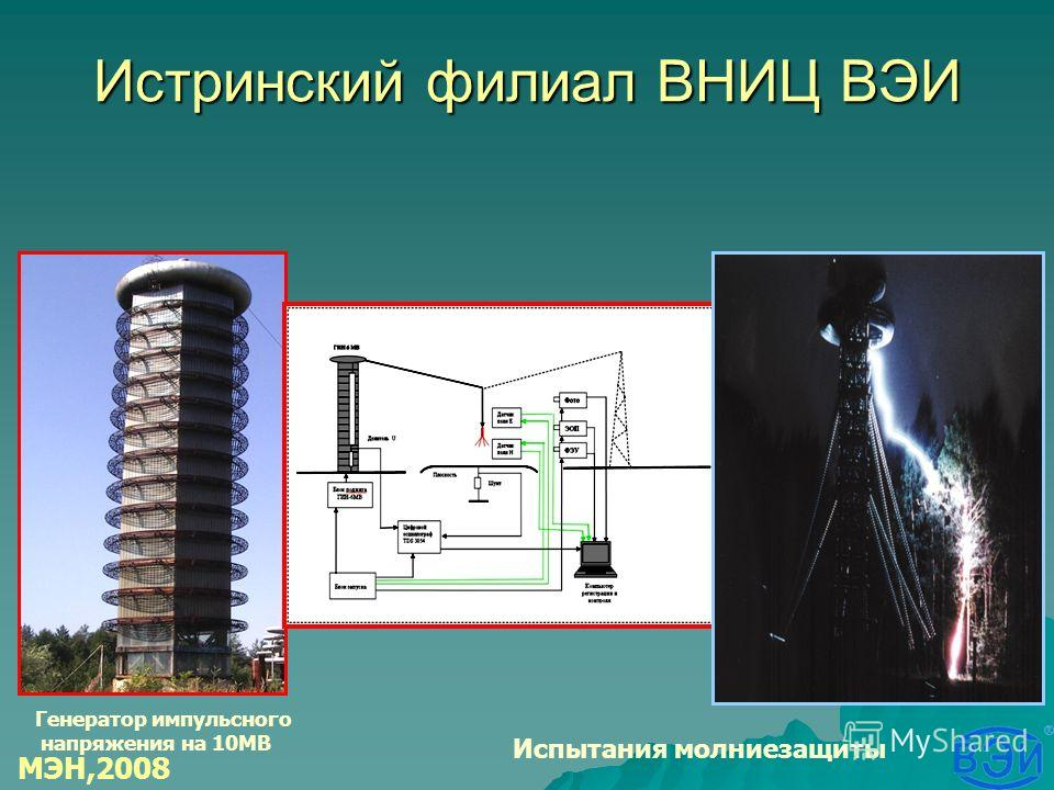 Истринский филиал ВНИЦ ВЭИ Генератор импульсного напряжения на 10МВ Испытания молниезащиты МЭН,2008