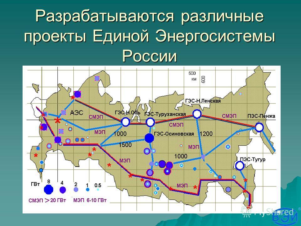 Разрабатываются различные проекты Единой Энергосистемы России