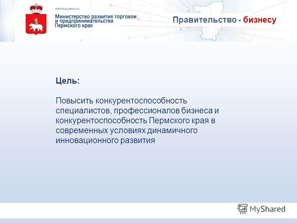 Цель: Повысить конкурентоспособность специалистов, профессионалов бизнеса и конкурентоспособность Пермского края в современных условиях динамичного инновационного развития Правительство - бизнесу