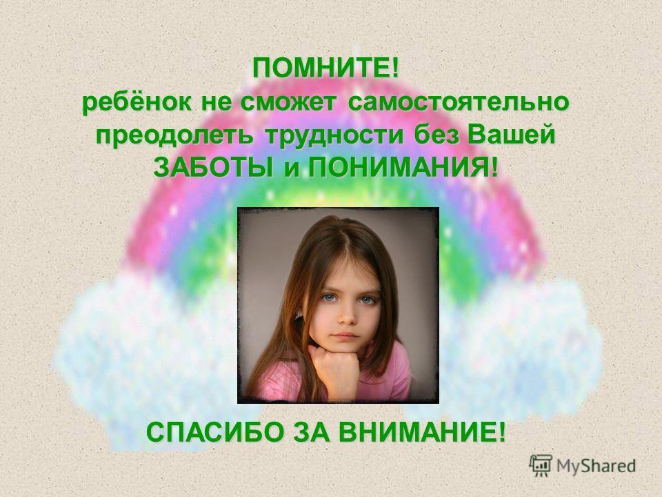 ПОМНИТЕ! ребёнок не сможет самостоятельно преодолеть трудности без Вашей ЗАБОТЫ и ПОНИМАНИЯ! СПАСИБО ЗА ВНИМАНИЕ!