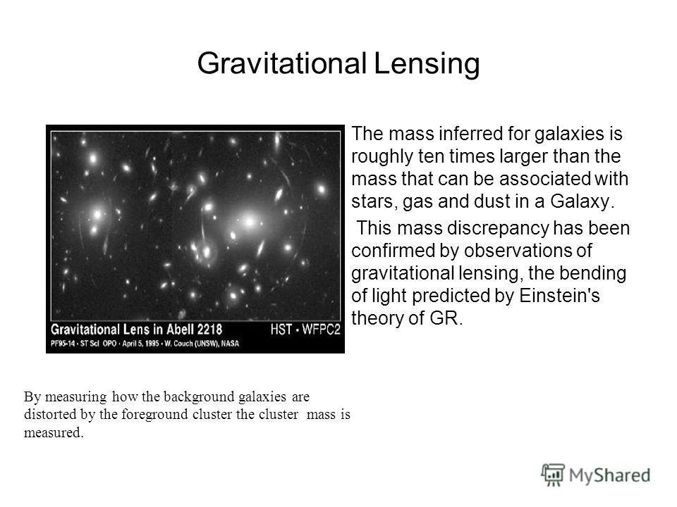 Gravitational Lensing The mass inferred for galaxies is roughly ten times larger than the mass that can be associated with stars, gas and dust in a Galaxy. This mass discrepancy has been confirmed by observations of gravitational lensing, the bending