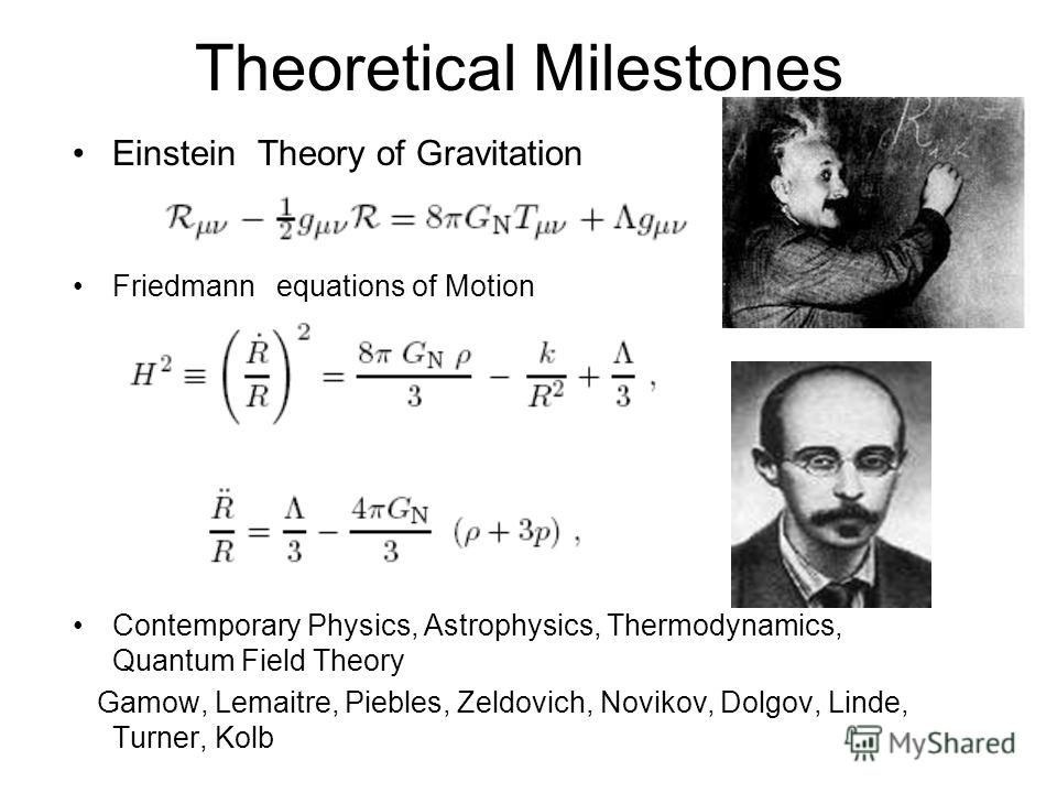 Theoretical Milestones Einstein Theory of Gravitation Friedmann equations of Motion Contemporary Physics, Astrophysics, Thermodynamics, Quantum Field Theory Gamow, Lemaitre, Piebles, Zeldovich, Novikov, Dolgov, Linde, Turner, Kolb
