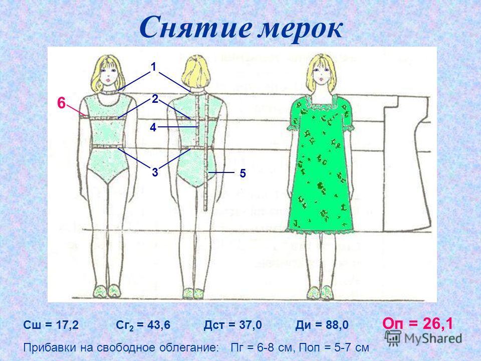 Снятие мерок Сш = 17,2 Сг 2 = 43,6 Дст = 37,0 Ди = 88,0 Оп = 26,1 Прибавки на свободное облегание: Пг = 6-8 см, Поп = 5-7 см 1 2 3 4 6 5