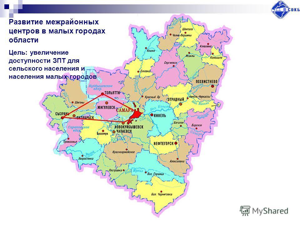 Развитие межрайонных центров в малых городах области Цель: увеличение доступности ЗПТ для сельского населения и населения малых городов
