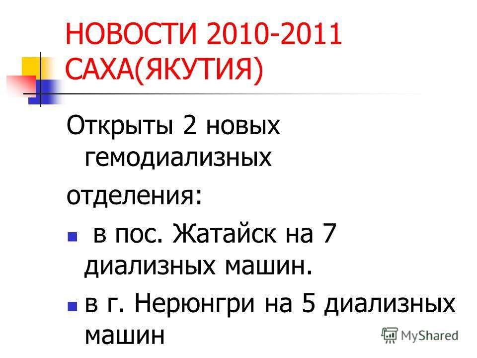 НОВОСТИ 2010-2011 САХА(ЯКУТИЯ) Открыты 2 новых гемодиализных отделения: в пос. Жатайск на 7 диализных машин. в г. Нерюнгри на 5 диализных машин
