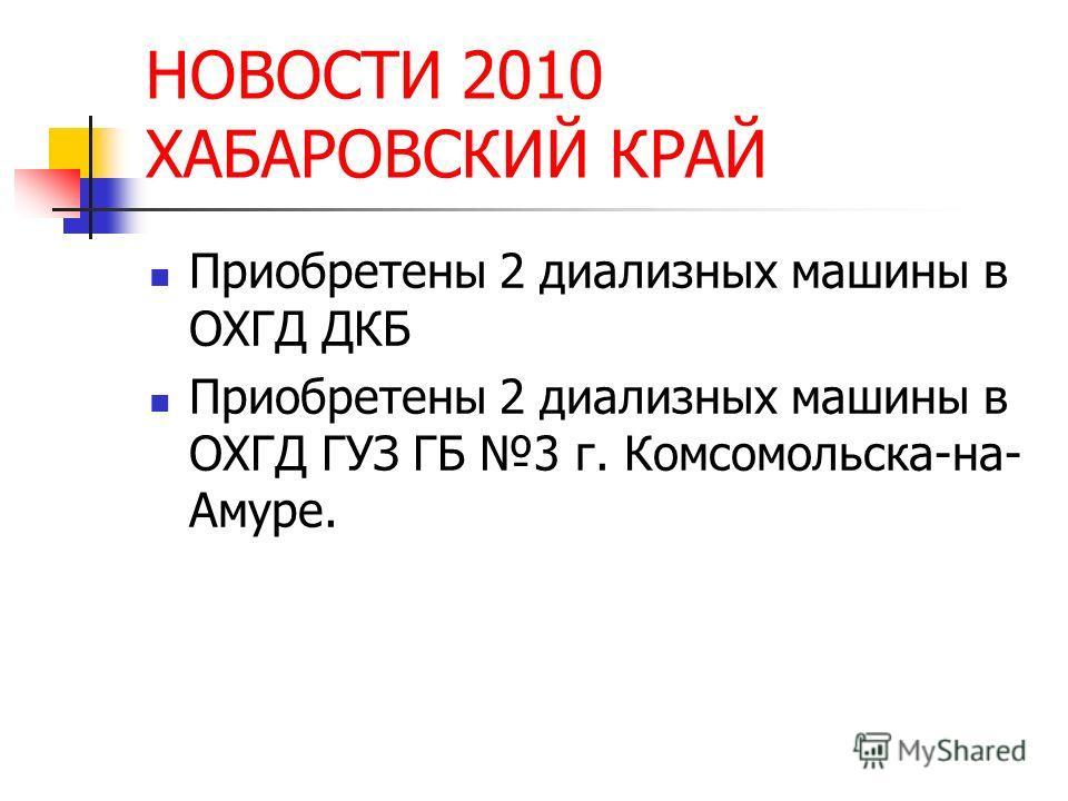 НОВОСТИ 2010 ХАБАРОВСКИЙ КРАЙ Приобретены 2 диализных машины в ОХГД ДКБ Приобретены 2 диализных машины в ОХГД ГУЗ ГБ 3 г. Комсомольска-на- Амуре.