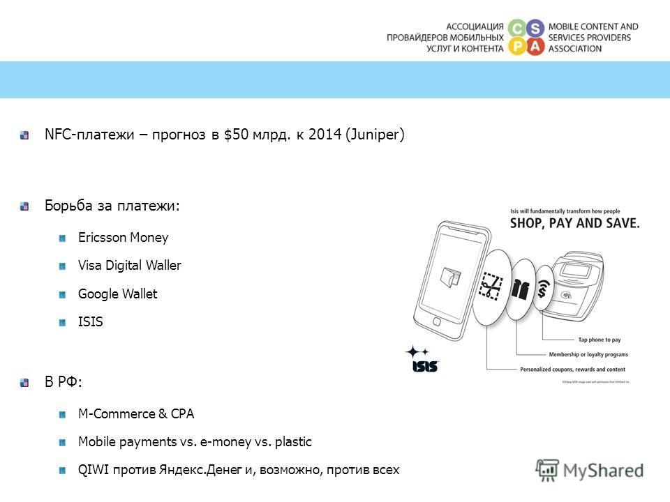 NFC-платежи – прогноз в $50 млрд. к 2014 (Juniper) Борьба за платежи: Ericsson Money Visa Digital Waller Google Wallet ISIS В РФ: M-Commerce & CPA Mobile payments vs. e-money vs. plastic QIWI против Яндекс.Денег и, возможно, против всех