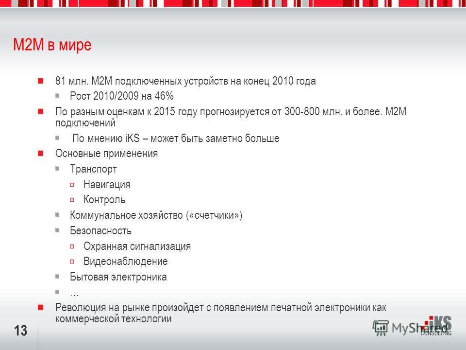 13 M2M в мире 81 млн. М2М подключенных устройств на конец 2010 года Рост 2010/2009 на 46% По разным оценкам к 2015 году прогнозируется от 300-800 млн. и более. М2М подключений По мнению iKS – может быть заметно больше Основные применения Транспорт На