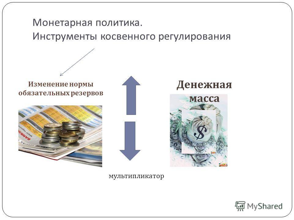 Монетарная политика. Инструменты косвенного регулирования Изменение нормы обязательных резервов Денежная масса мультипликатор