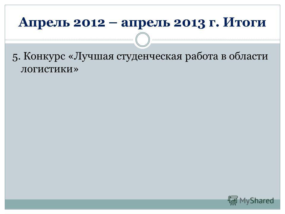 Апрель 2012 – апрель 2013 г. Итоги 5. Конкурс «Лучшая студенческая работа в области логистики»
