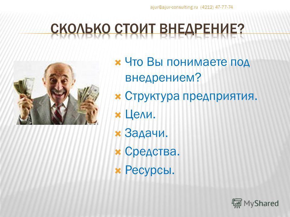 Что Вы понимаете под внедрением? Структура предприятия. Цели. Задачи. Средства. Ресурсы. ajur@ajur-consulting.ru (4212) 47-77-74