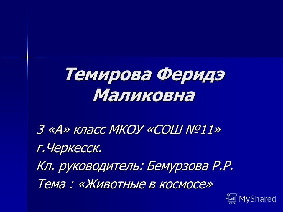 Темирова Феридэ Маликовна 3 «А» класс МКОУ «СОШ 11» г.Черкесск. Кл. руководитель: Бемурзова Р.Р. Тема : «Животные в космосе»