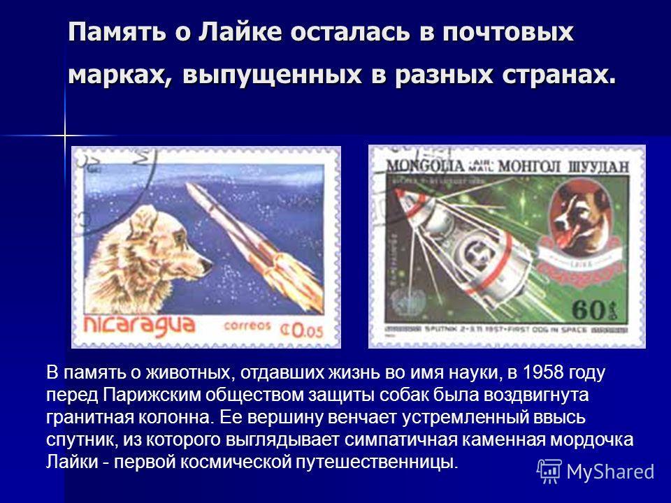 Память о Лайке осталась в почтовых марках, выпущенных в разных странах. В память о животных, отдавших жизнь во имя науки, в 1958 году перед Парижским обществом защиты собак была воздвигнута гранитная колонна. Ее вершину венчает устремленный ввысь спу