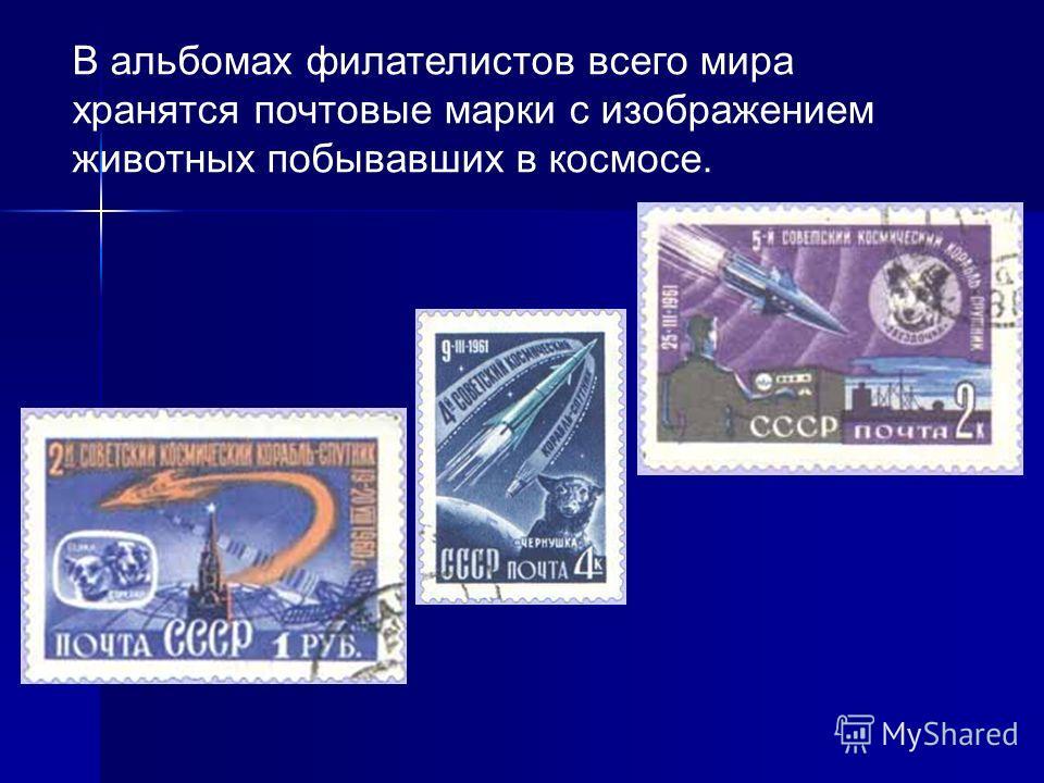 В альбомах филателистов всего мира хранятся почтовые марки с изображением животных побывавших в космосе.