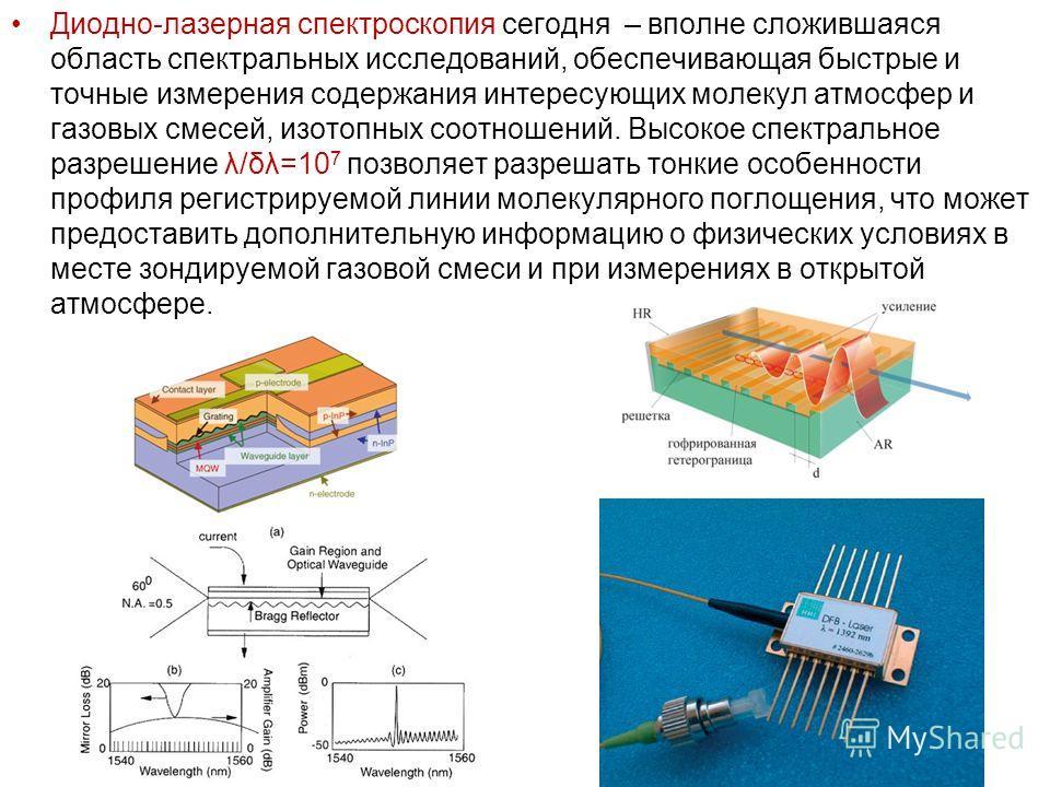 Диодно-лазерная спектроскопия сегодня – вполне сложившаяся область спектральных исследований, обеспечивающая быстрые и точные измерения содержания интересующих молекул атмосфер и газовых смесей, изотопных соотношений. Высокое спектральное разрешение