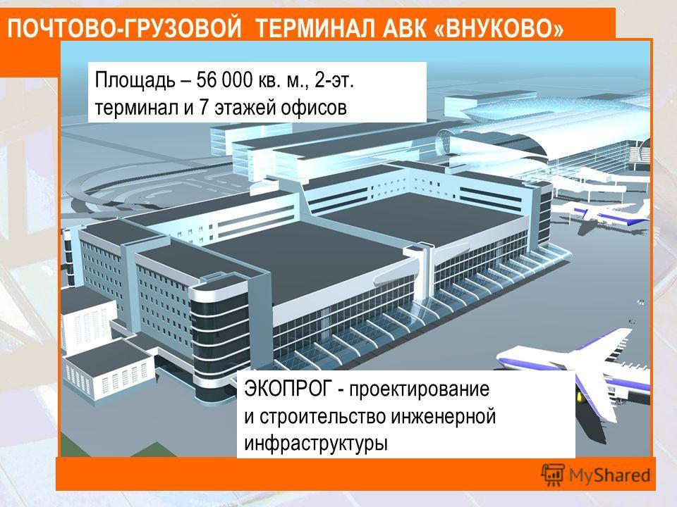 ПОЧТОВО-ГРУЗОВОЙ ТЕРМИНАЛ АВК «ВНУКОВО» Площадь – 56 000 кв. м., 2-эт. терминал и 7 этажей офисов ЭКОПРОГ - проектирование и строительство инженерной инфраструктуры