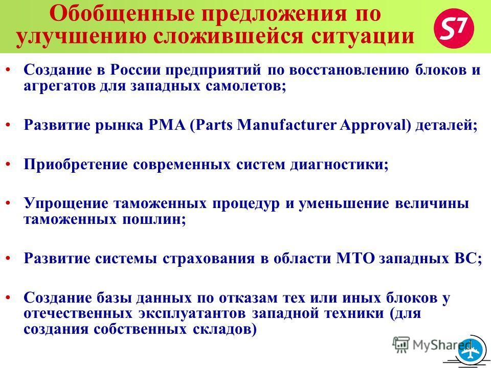 Обобщенные предложения по улучшению сложившейся ситуации Создание в России предприятий по восстановлению блоков и агрегатов для западных самолетов; Развитие рынка PMA (Parts Manufacturer Approval) деталей; Приобретение современных систем диагностики;