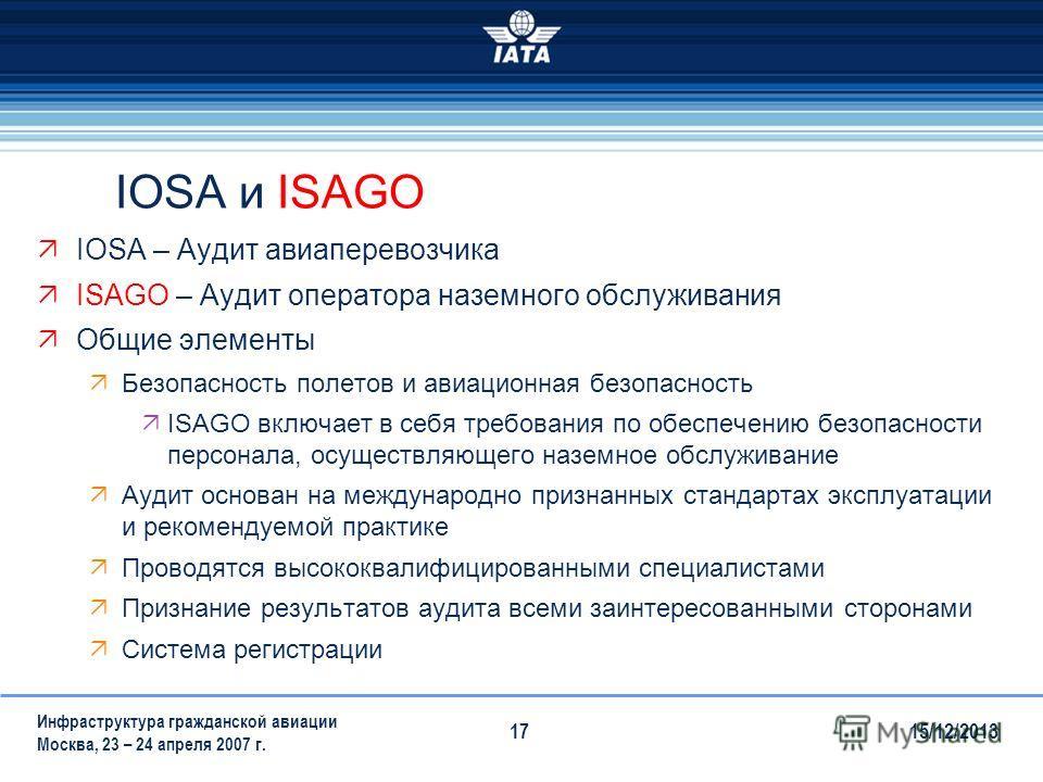 15/12/2013 Инфраструктура гражданской авиации Москва, 23 – 24 апреля 2007 г. 17 IOSA и ISAGO IOSA – Аудит авиаперевозчика ISAGO – Аудит оператора наземного обслуживания Общие элементы Безопасность полетов и авиационная безопасность ISAGO включает в с