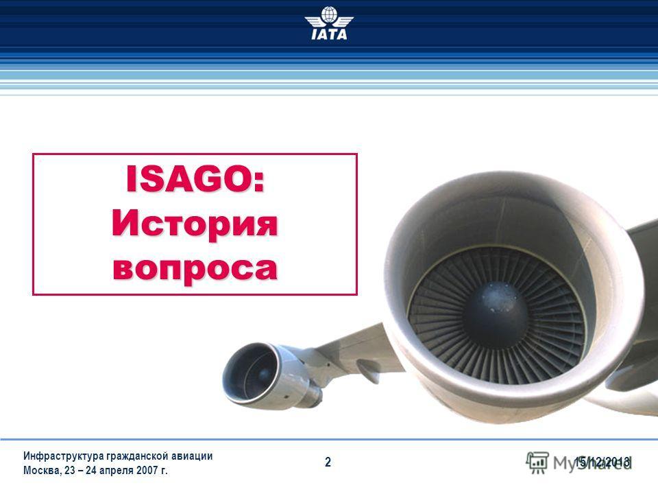 15/12/2013 Инфраструктура гражданской авиации Москва, 23 – 24 апреля 2007 г. 2 ISAGO: История вопроса