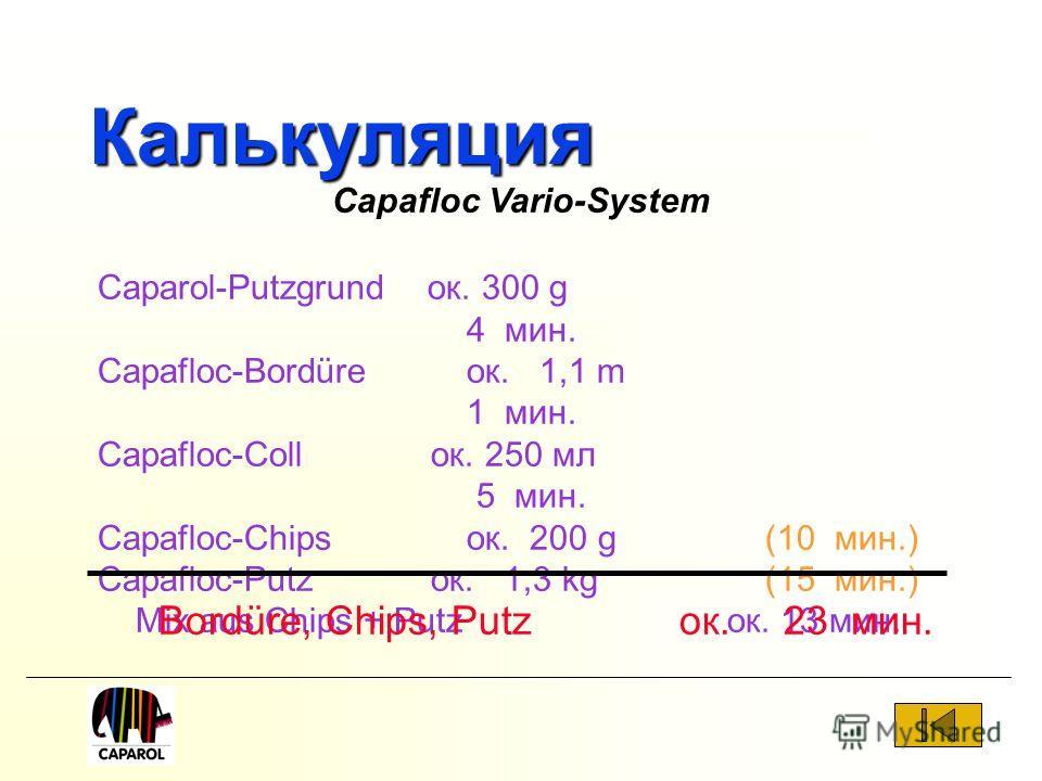 Калькуляция Caparol-Putzgrund ок. 300 g 4 мин. Capafloc-Bordüre ок. 1,1 m 1 мин. Capafloc-Coll ок. 250 мл 5 мин. Capafloc-Chipsок. 200 g (10 мин.) Capafloc-Putz ок. 1,3 kg (15 мин.) Mix aus Chips + Putz ок. 13 мин. Bordüre, Chips, Putz ок.23 мин. Cap