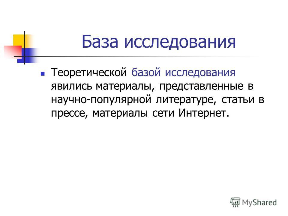 База исследования Теоретической базой исследования явились материалы, представленные в научно-популярной литературе, статьи в прессе, материалы сети Интернет.