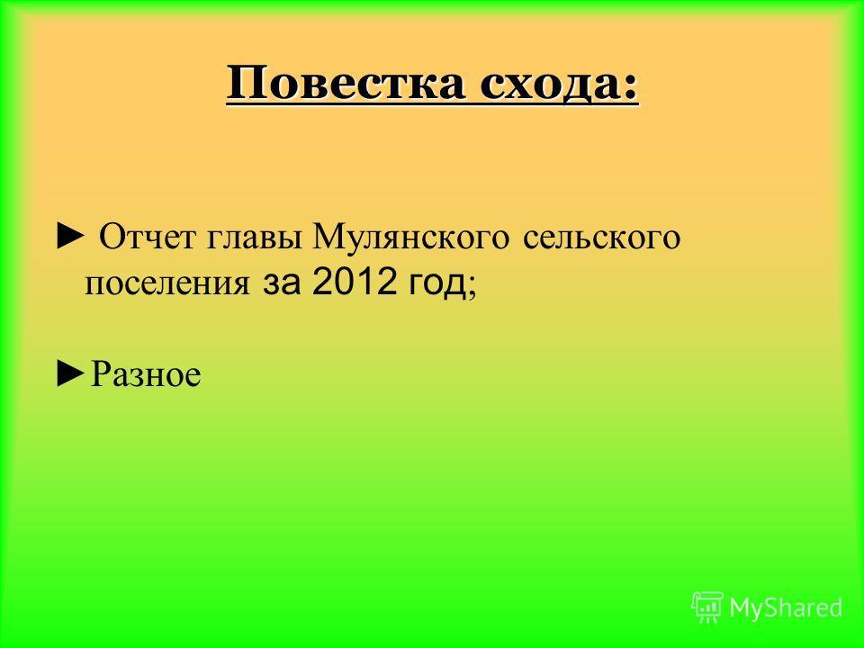 Повестка схода: Отчет главы Мулянского сельского поселения за 2012 год ; Разное