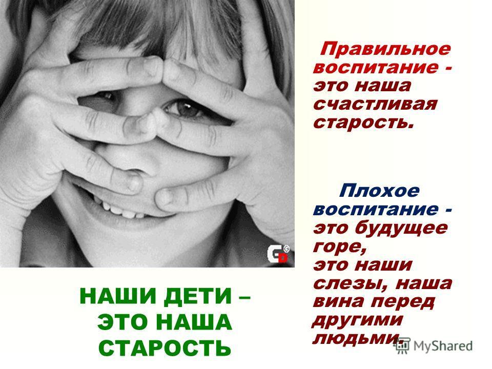Правильное воспитание - это наша счастливая старость. Плохое воспитание - это будущее горе, это наши слезы, наша вина перед другими людьми. НАШИ ДЕТИ – ЭТО НАША СТАРОСТЬ