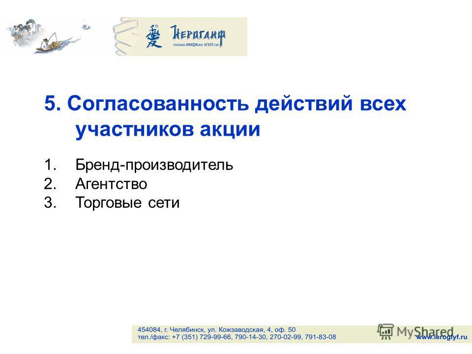 5. Согласованность действий всех участников акции 1.Бренд-производитель 2.Агентство 3.Торговые сети