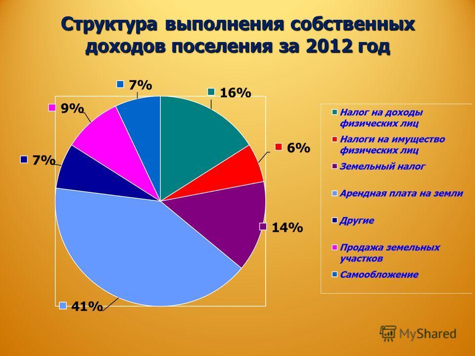 Структура выполнения собственных доходов поселения за 2012 год