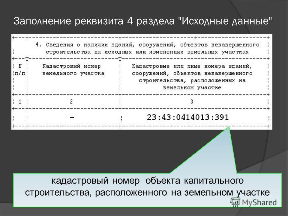 Заполнение реквизита 4 раздела Исходные данные