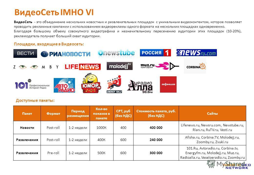 ВидеоСеть IMHO VI Площадки, входящие в Видеосеть: ВидеоCеть - это объединение нескольких новостных и развлекательных площадок с уникальным видеоконтентом, которое позволяет проводить рекламные кампании с использованием видеорекламы одного формата на