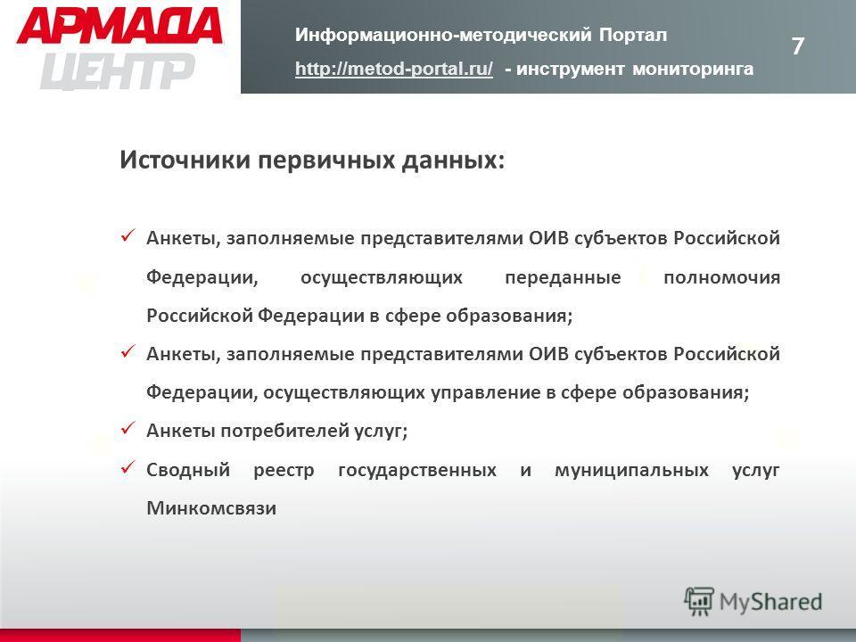7 Источники первичных данных: Анкеты, заполняемые представителями ОИВ субъектов Российской Федерации, осуществляющих переданные полномочия Российской Федерации в сфере образования; Анкеты, заполняемые представителями ОИВ субъектов Российской Федераци