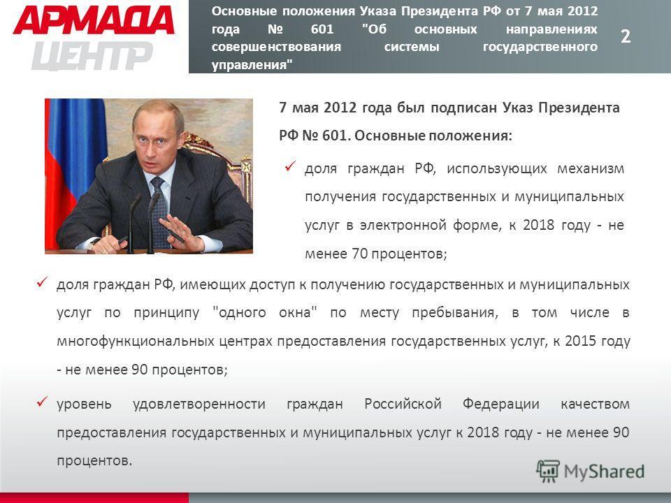 2 Основные положения Указа Президента РФ от 7 мая 2012 года 601