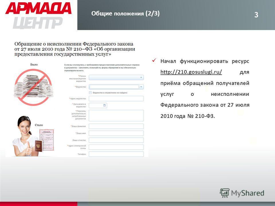 3 Начал функционировать ресурс http://210.gosuslugi.ru/ для приёма обращений получателей услуг о неисполнении Федерального закона от 27 июля 2010 года 210-ФЗ. Общие положения (2/3)