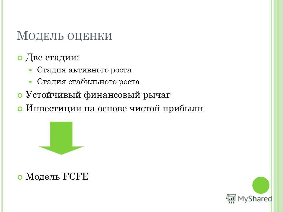 М ОДЕЛЬ ОЦЕНКИ Две стадии: Стадия активного роста Стадия стабильного роста Устойчивый финансовый рычаг Инвестиции на основе чистой прибыли Модель FCFE