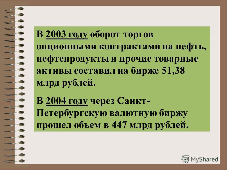 В 2003 году оборот торгов опционными контрактами на нефть, нефтепродукты и прочие товарные активы составил на бирже 51,38 млрд рублей. В 2004 году через Санкт- Петербургскую валютную биржу прошел объем в 447 млрд рублей.