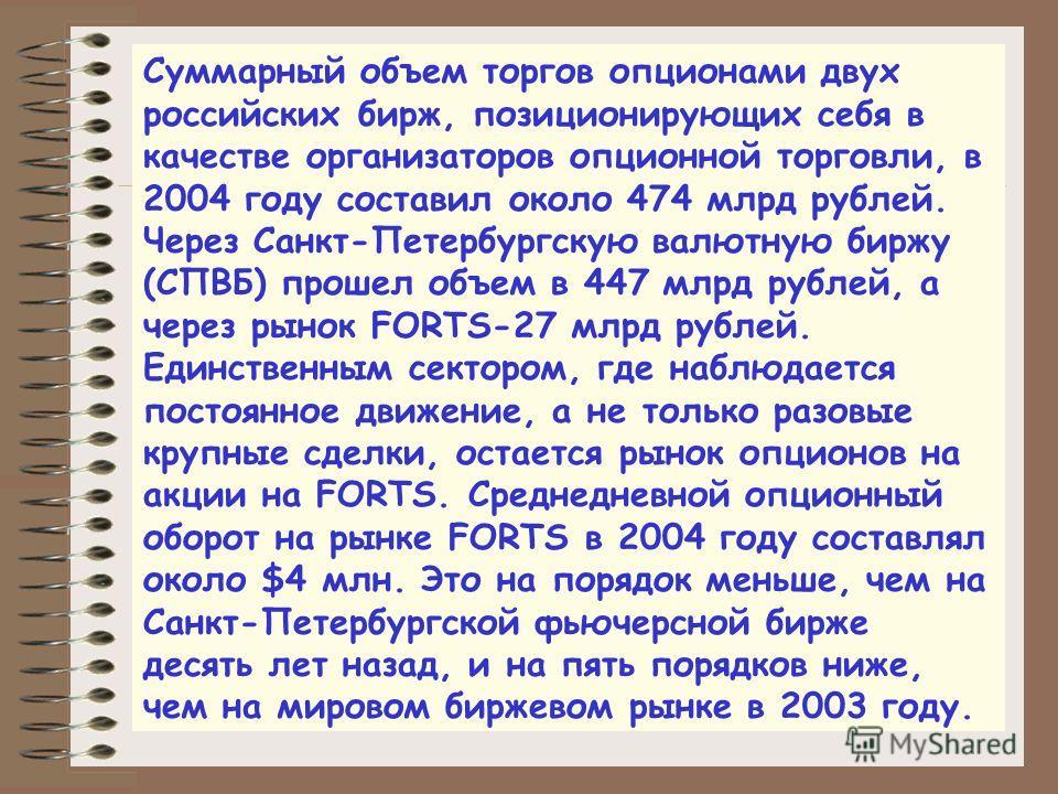 Суммарный объем торгов опционами двух российских бирж, позиционирующих себя в качестве организаторов опционной торговли, в 2004 году составил около 474 млрд рублей. Через Санкт-Петербургскую валютную биржу (СПВБ) прошел объем в 447 млрд рублей, а чер