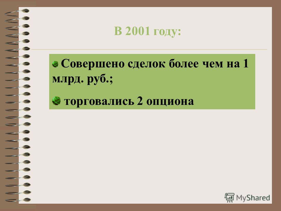 В 2001 году: Совершено сделок более чем на 1 млрд. руб.; торговались 2 опциона
