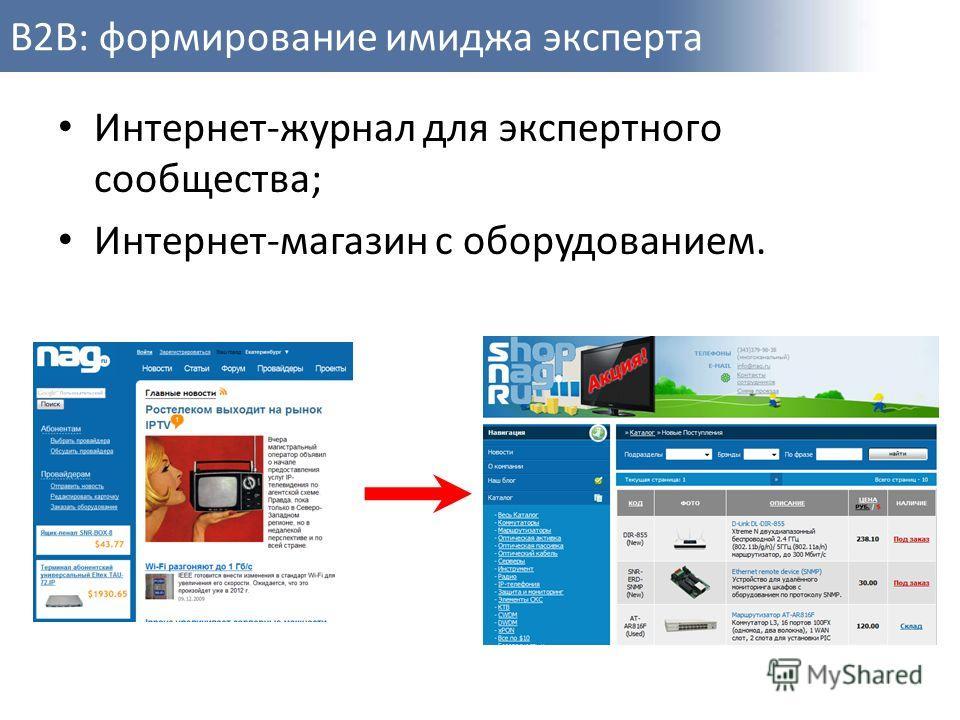 B2B: формирование имиджа эксперта Интернет-журнал для экспертного сообщества; Интернет-магазин с оборудованием.