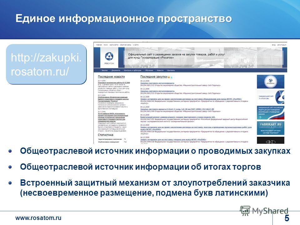 www.rosatom.ru 5 Единое информационное пространство Общеотраслевой источник информации о проводимых закупках Общеотраслевой источник информации об итогах торгов Встроенный защитный механизм от злоупотреблений заказчика (несвоевременное размещение, по