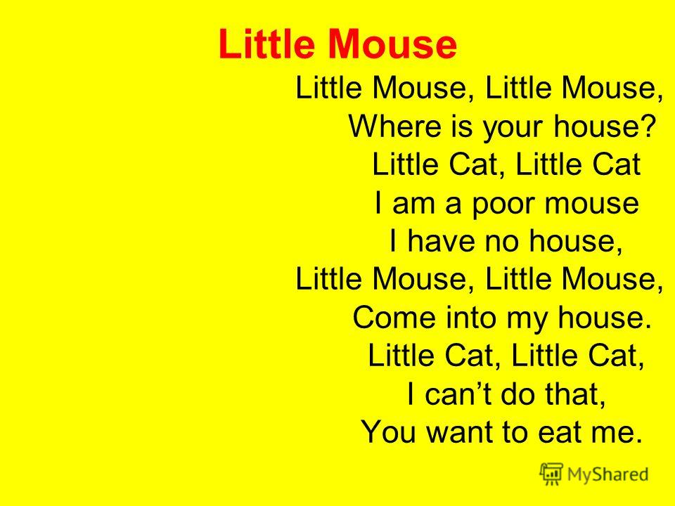 Little Mouse Little Mouse, Little Mouse, Where is your house? Little Cat, Little Cat I am a poor mouse I have no house, Little Mouse, Little Mouse, Come into my house. Little Cat, Little Cat, I cant do that, You want to eat me.