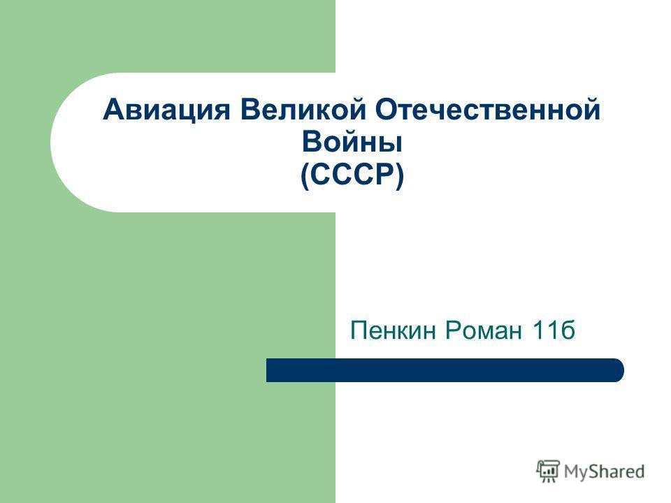 Авиация Великой Отечественной Войны (СССР) Пенкин Роман 11б