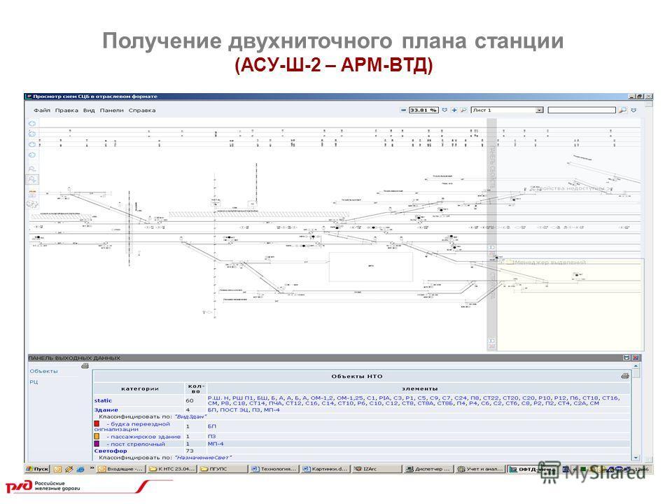 Получение двухниточного плана станции (АСУ-Ш-2 – АРМ-ВТД)