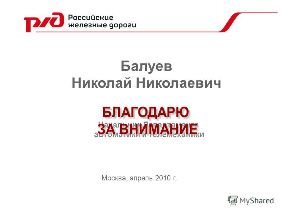 Балуев Николай Николаевич Москва, апрель 2010 г. Начальник Департамента автоматики и телемеханики