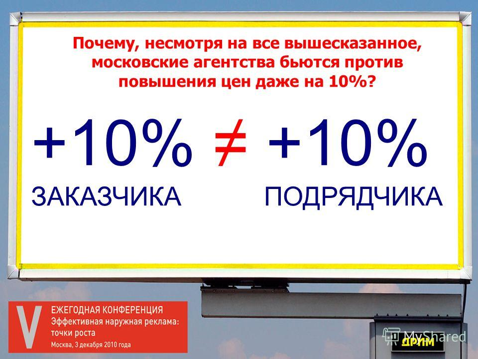 Почему, несмотря на все вышесказанное, московские агентства бьются против повышения цен даже на 10%? +10% ЗАКАЗЧИКА ПОДРЯДЧИКА