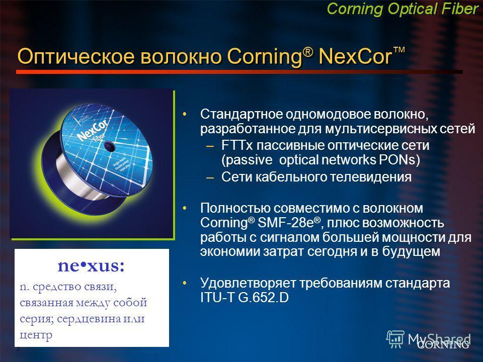 3 Оптическое волокно Corning ® NexCor Стандартное одномодовое волокно, разработанное для мультисервисных сетей –FTTx пассивные оптические сети (passive optical networks PONs) –Сети кабельного телевидения Полностью совместимо с волокном Corning ® SMF-