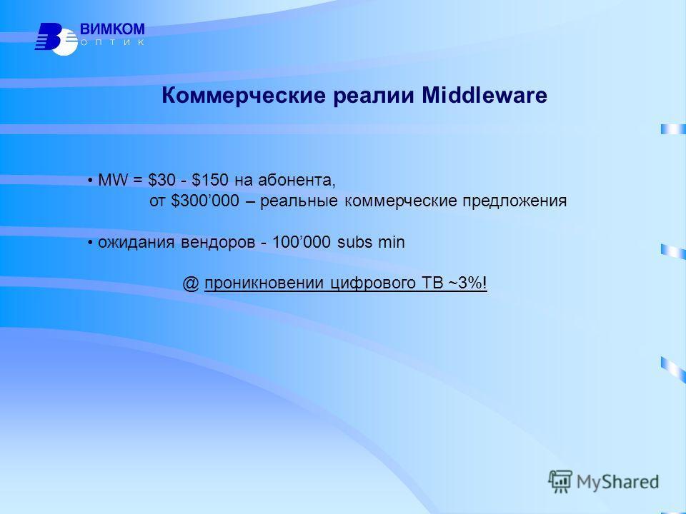 Коммерческие реалии Middleware MW = $30 - $150 на абонента, от $300000 – реальные коммерческие предложения ожидания вендоров - 100000 subs min @ проникновении цифрового ТВ ~3%!