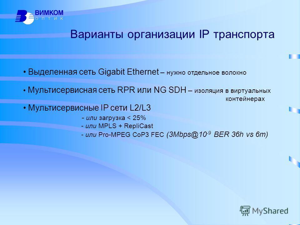 Варианты организации IP транспорта Выделенная сеть Gigabit Ethernet – нужно отдельное волокно Мультисервисная сеть RPR или NG SDH – изоляция в виртуальных контейнерах Мультисервисные IP сети L2/L3 - или загрузка < 25% - или MPLS + RepliCast - или Pro